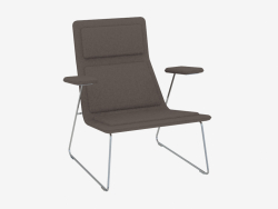 Leather armchair with armrests Low Pad