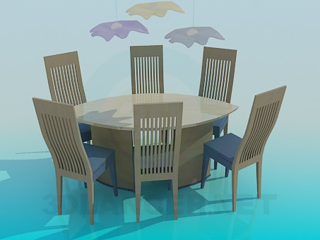 3d modeling Dining table and chairs model free download