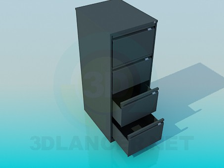 3d model Office pedestal with drawers - preview