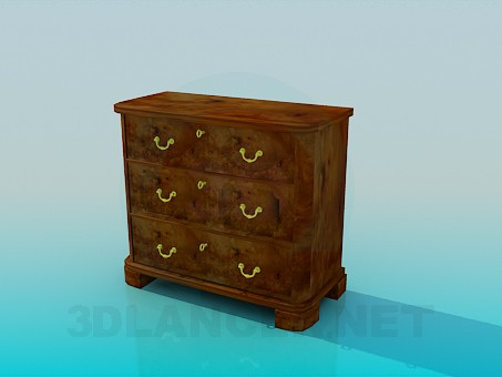 3d model A small chest with drawers with key - preview