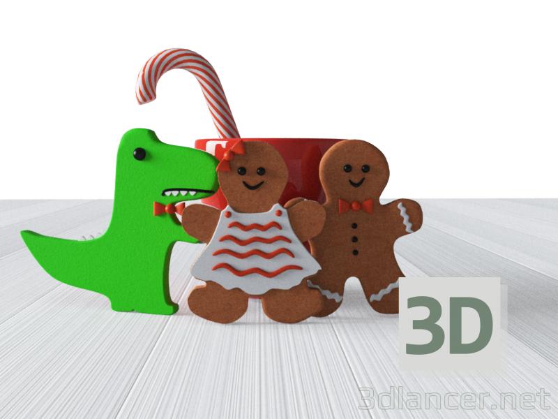 3d Cookies and mug model buy - render