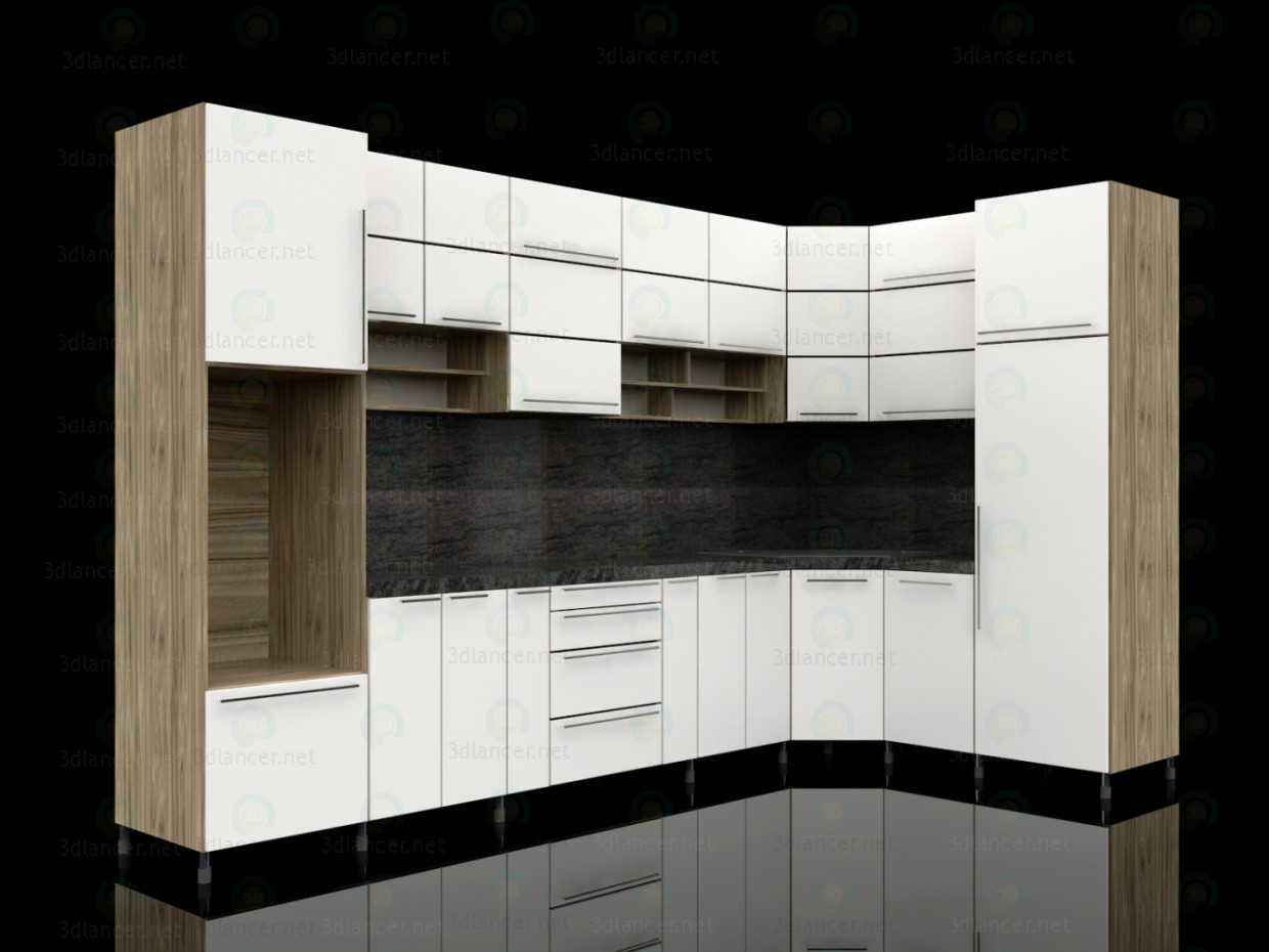 3d model kitchen in the style of high tech id 14720 for Model kitchen images