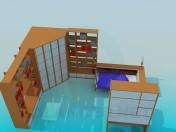 Conjunto de muebles en el dormitorio para una persona