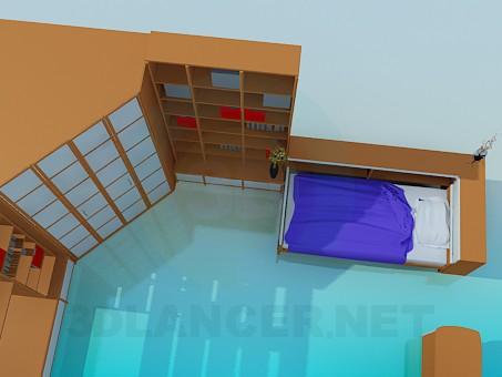 modelo 3D Conjunto de muebles en el dormitorio para una persona - escuchar