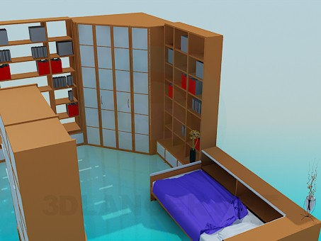 3d model Set of furniture in the bedroom for one person - preview