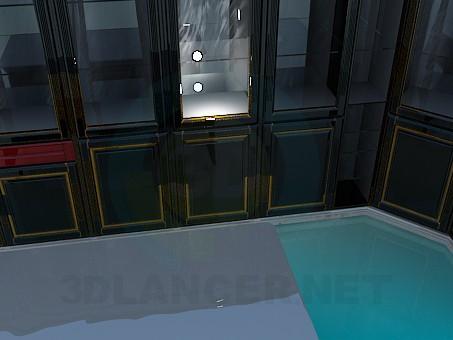 3d модель Угловая библиотека-витрина – превью