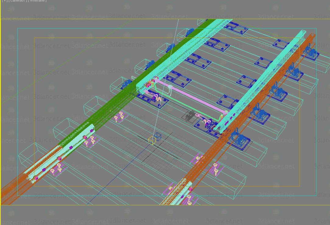 modelo 3D interruptor del ferrocarril - escuchar
