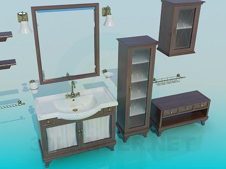 3d моделирование Комплект мебели в ванную модель скачать бесплатно