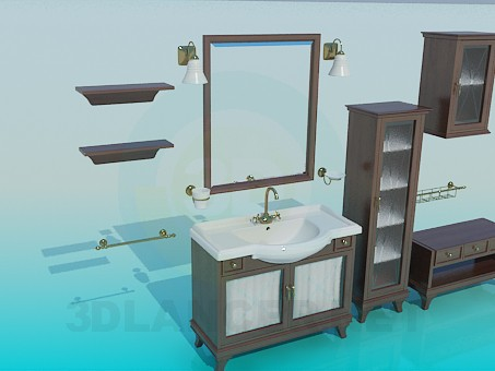 3d модель Комплект мебели в ванную – превью