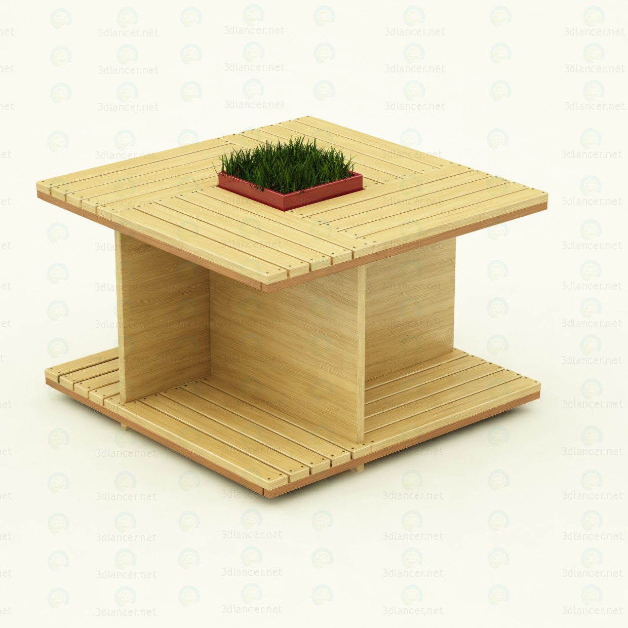 3d model Wooden table for the garden - preview