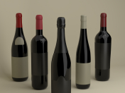 French wine bottles