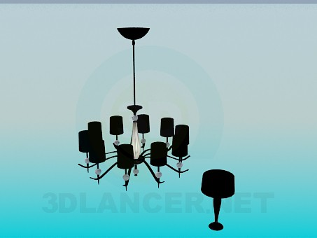 3d modeling Chandelier and table lamp model free download