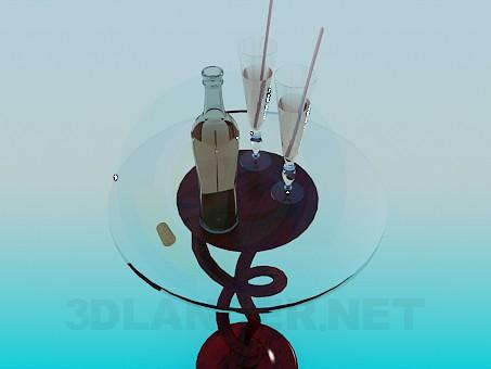 3d модель Стеклянный столик – превью