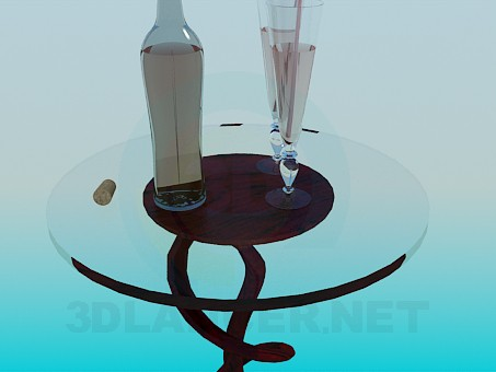 3d model Glass table - preview