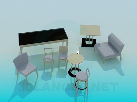 modello 3D Set di mobili - anteprima