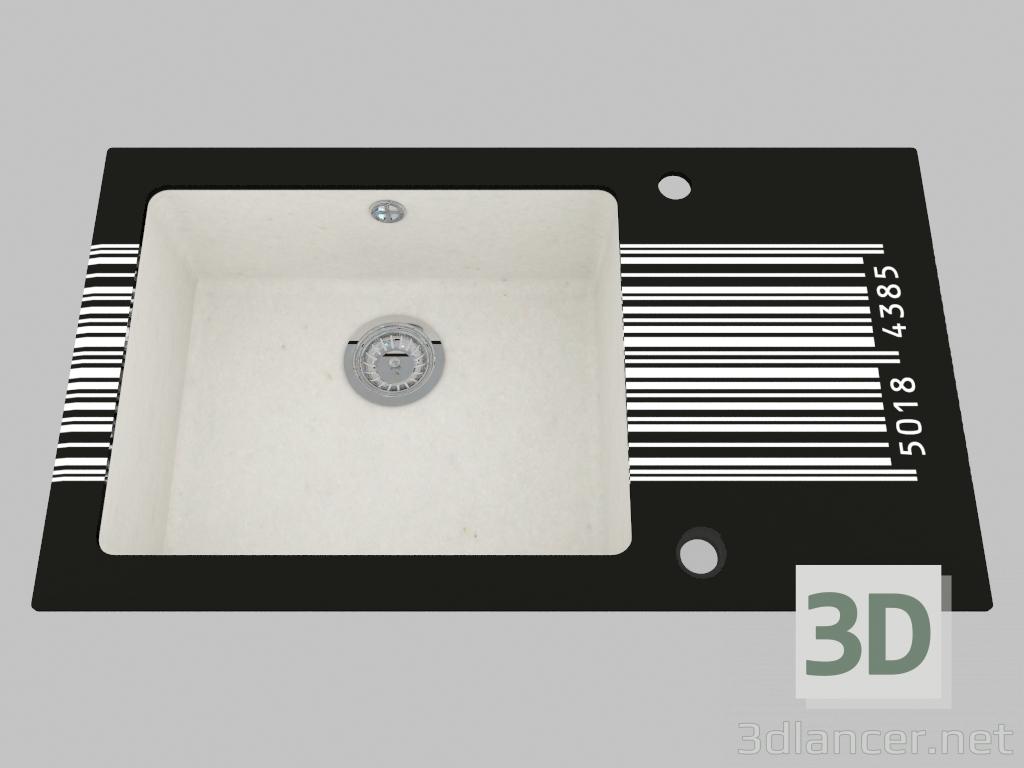 3d model Fregadero de granito de vidrio, 1 cámara con un ala para secar - Edge Diamond Capella (ZSC AD2C) - vista previa