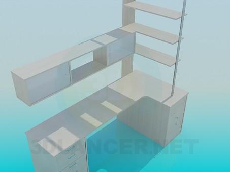 3d модель Письменный стол с полками – превью