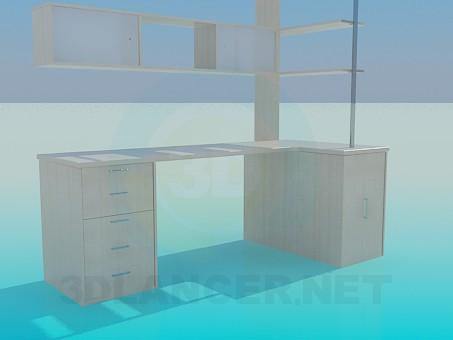 3d model Desk with shelves - preview