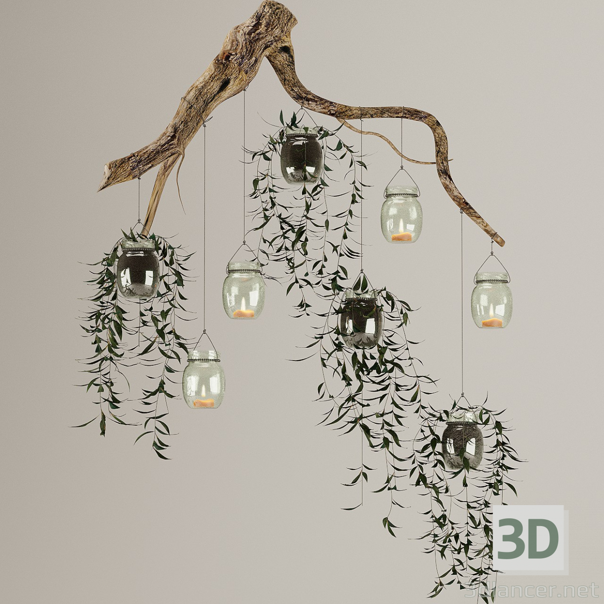 3d Wooden Branch with Plants in Pots and Candles model buy - render