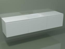 Lavabo avec tiroirs (L 216, P 50, H 48 cm)