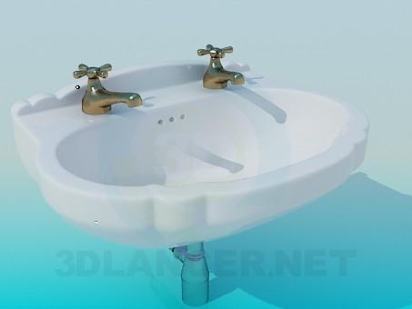 3d модель Умывальник с двумя кранами – превью