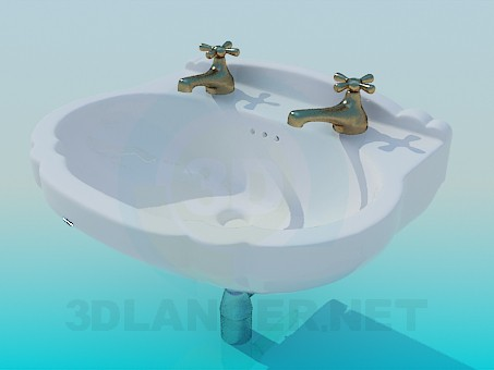 3d model Wash basin with two taps - preview