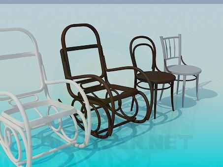 3d модель Крісло-гойдалки та стільці – превью