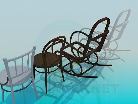3d модель Кресло-качалки и стулья – превью