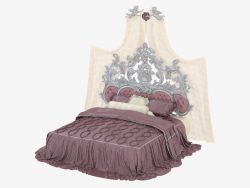 Double Bed Baroque Bed With Tufted Upholstered Headboard (14209)