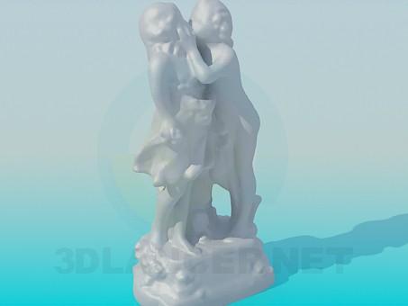 3d модель Хлопчик цілує дівчинку – превью