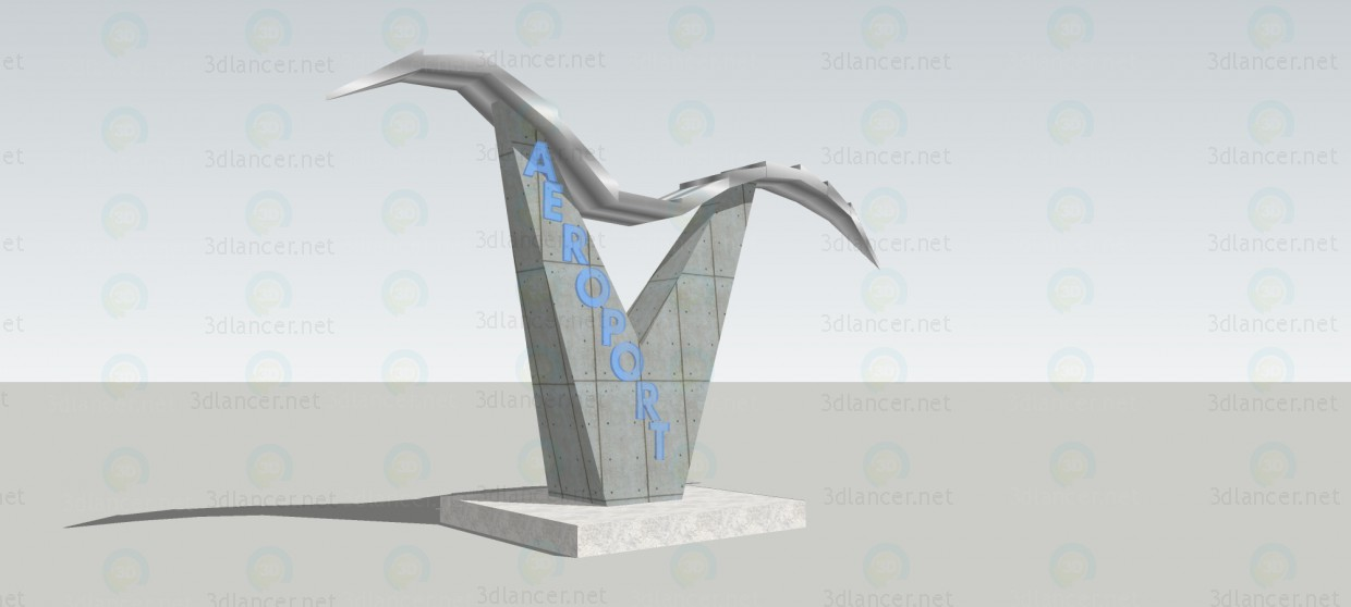 3d model The entrance sign at the airport 2 - preview
