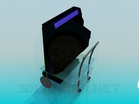 3d модель Телевизор и видеоплеер на столике – превью