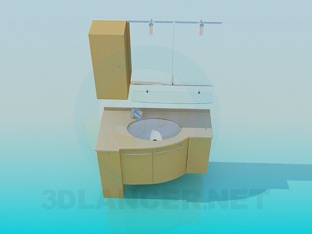 3d model Furniture under the washbasin in the corner - preview
