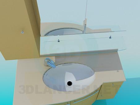 3d модель Меблі під умивальник в кут – превью