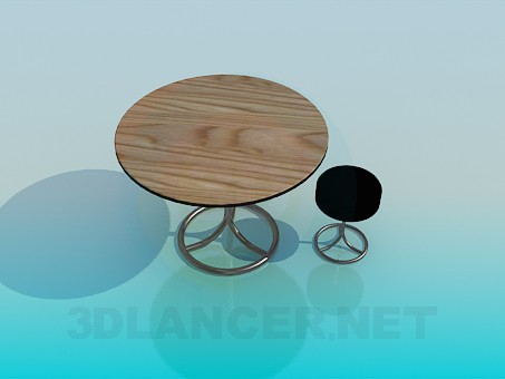 3d modeling Round table with a round stool model free download