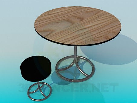 3d model Round table with a round stool - preview