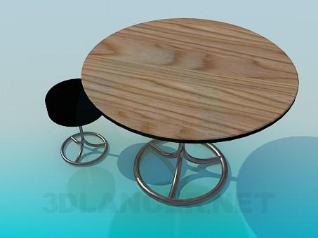 3d модель Круглый стол с круглым табуретом – превью