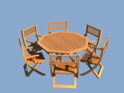 Wooden garden furniture - table and chairs