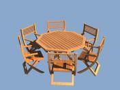 Madera muebles de jardín - mesa y sillas
