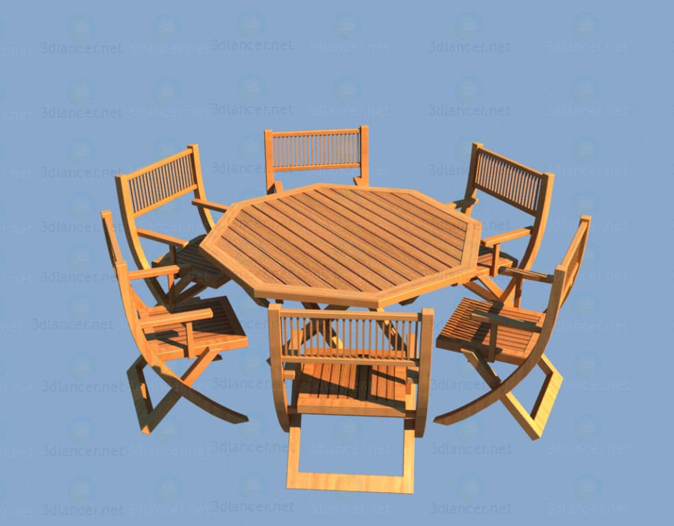 3d model Wooden garden furniture - table and chairs - preview
