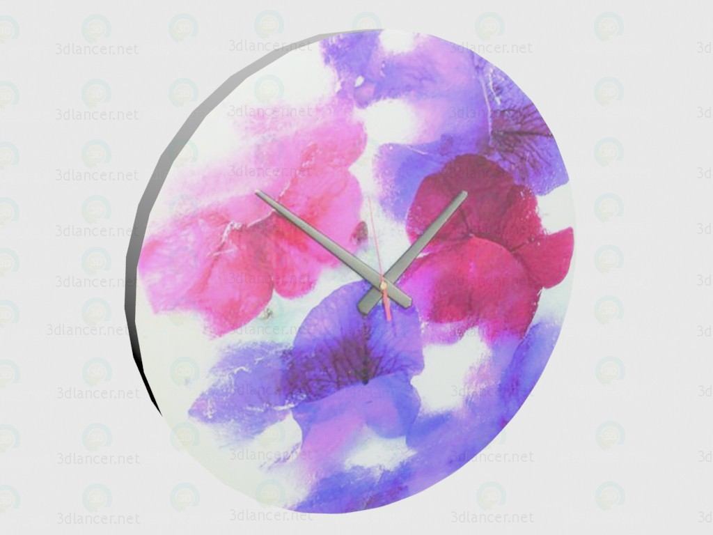 3d model Clock Flowers - preview