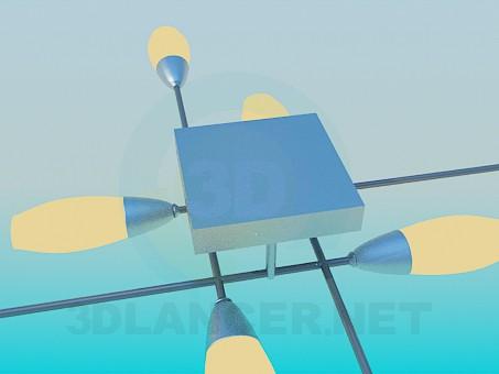 3d модель Світильник з перпендикулярно розташованими плафонами – превью
