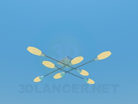 3d model Lamp with perpendicularly pleced the ceiling paintings - preview