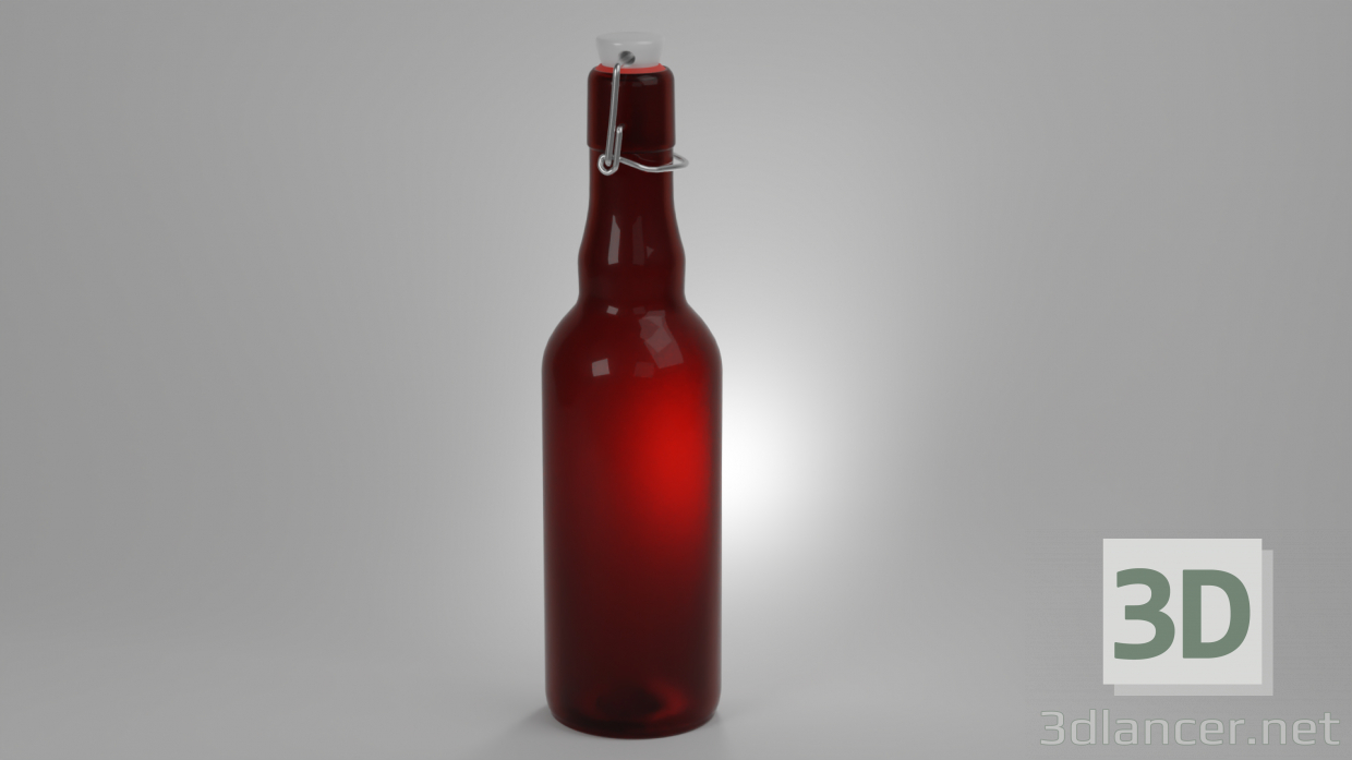 3d model Glass bottle with cap - preview