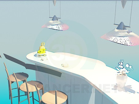 3d model The bar counter for the kitchen - preview