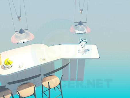 3d модель Барная стойка для кухни – превью
