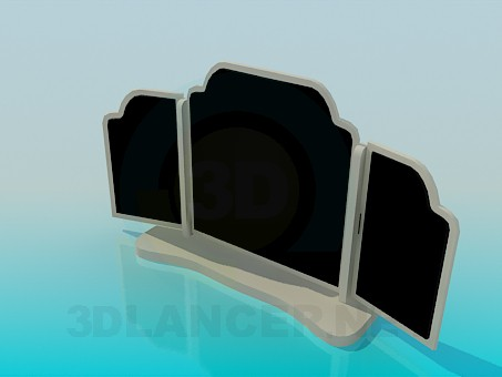 modelo 3D espejo de tres hojas - escuchar