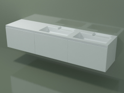 Double washbasin with drawers (dx, L 216, P 50, H 48 cm)