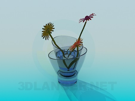 3d model Double glass vase with chrysanthemum - preview