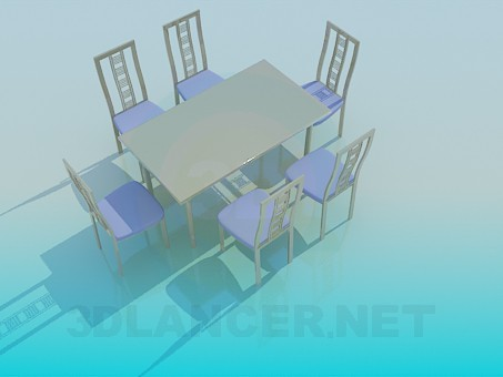 3d модель Обеденный стол со стульями в комплекте – превью